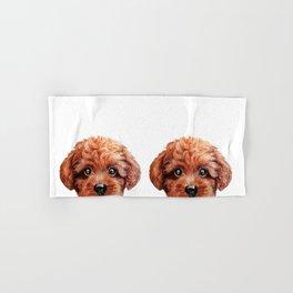 Toy poodle red brown Dog illustration original painting print Hand & Bath Towel