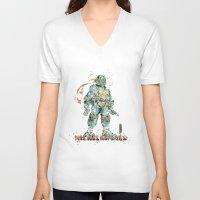 teenage mutant ninja turtles V-neck T-shirts featuring Michelangelo Teenage Mutant Ninja Turtles by Carma Zoe