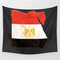 egypt Wall Tapestries featuring Egypt Vintage Map by Finlay McNevin