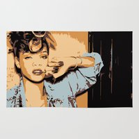 rihanna Area & Throw Rugs featuring Rihanna  by GOLDY