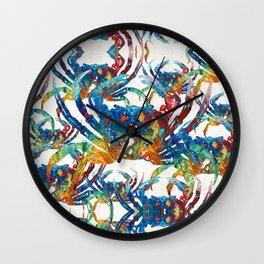 Bright Colorful Crab Collage Art by Sharon Cummings Wall Clock