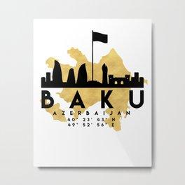 BAKU AZERBAIJAN SILHOUETTE SKYLINE MAP ART Metal Print