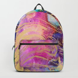 Modern gold marble on pastel pink purple watercolor nebula paint Backpack