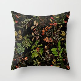 Vintage & Shabby Chic - vintage botanical wildflowers and berries on black Throw Pillow