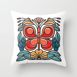 Butterfly tile Throw Pillow