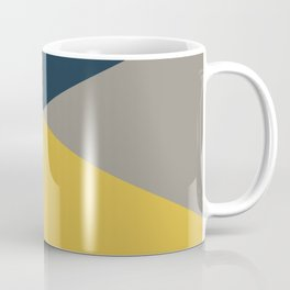 Envelope - Minimalist Geometric Color Block in Light Mustard Yellow, Navy Blue, and Gray Coffee Mug