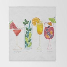 Summer Cocktails Throw Blanket
