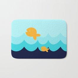 Beach Series Aqua- Gold Fish Animals in the deep Sea Bath Mat