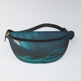 Northern Lights - Aurora Borealis Snowy Night Winter Scene by Sydney Lawrence Fanny Pack