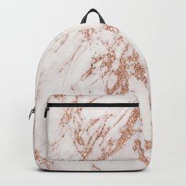 Elegant ivory gray rose gold glitter marble pattern Backpack