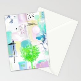 Peinture  tons pastels chat oiseau maisons arbre bulles Stationery Cards
