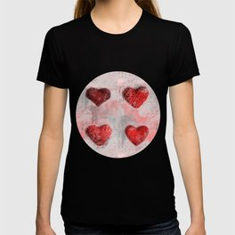 Heart Love Red Mixed Media Pattern Gift T-shirt