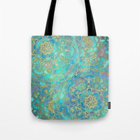 stained glass Tote Bags featuring Sapphire & Jade Stained Glass Mandalas by micklyn
