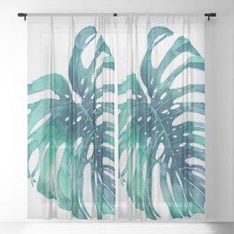 Monstera Leaf Watercolor Sheer Curtain