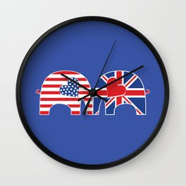 U.S.-U.K. Friendship Elephants Wall Clock