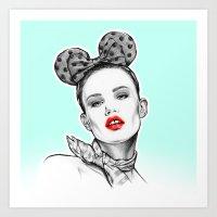 girl pop-art Art Print
