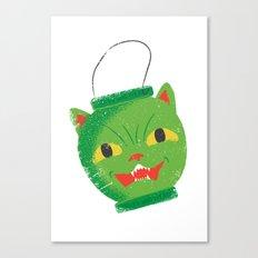 Green cat head luminary Canvas Print