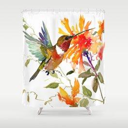 Hummingbird and Orange Floral Design, tropical Hawaiian Colors Shower Curtain