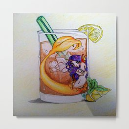 Tea Glass Mermaid Metal Print