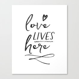 Love Lives Here   Framed Wooden Sign   Farmhouse Style   Rustic Decor   Fixer Upper   Welcome Home Canvas Print
