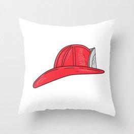 Vintage Fireman Firefighter Helmet Drawing Throw Pillow