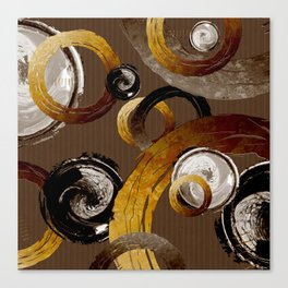 Big Dark Brass Yellow and Brown Rings and Circles Canvas Print