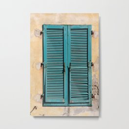 Turquoise Window shutters - Italy Elba-Island Metal Print