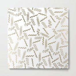 Geometrical white faux gold abstract retro 80's pattern Metal Print