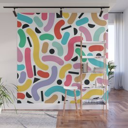 Summer Rainbow Squiggles Wall Mural