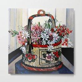 """""""Basket of Flannel Flowers"""" by Margaret Preston Metal Print"""