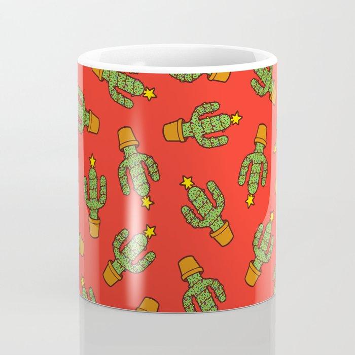Cactus Christmas Tree in Red Coffee Mug