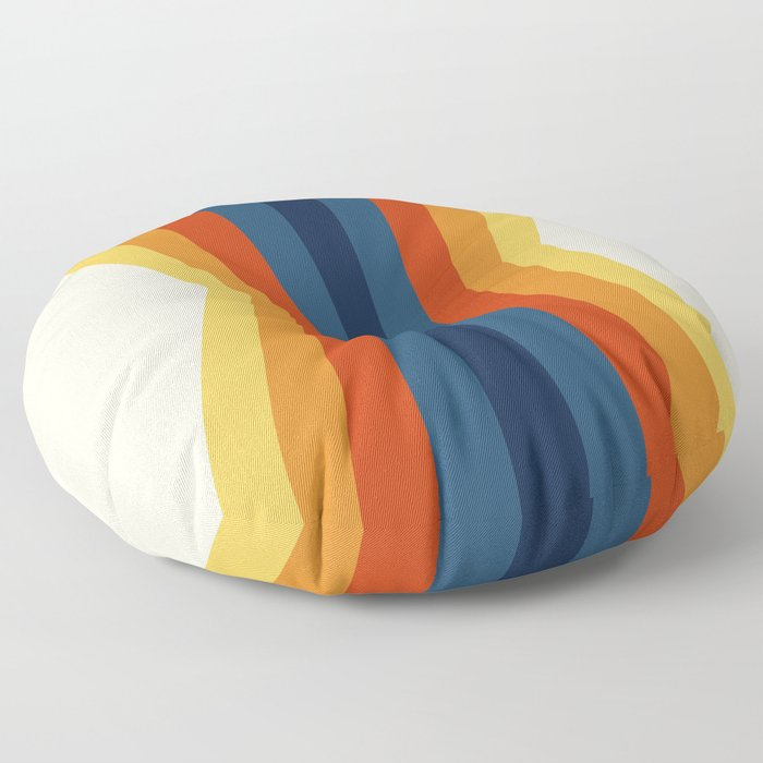 Bright 70's Retro Stripes Reflection Floor Pillow