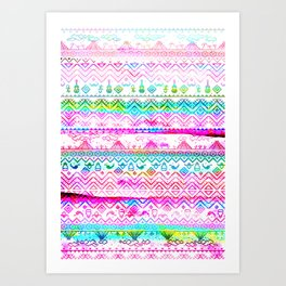 bohemian pattern in pink and turqupise soft colors Art Print