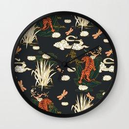 Asian tigers illustration pattern Wall Clock