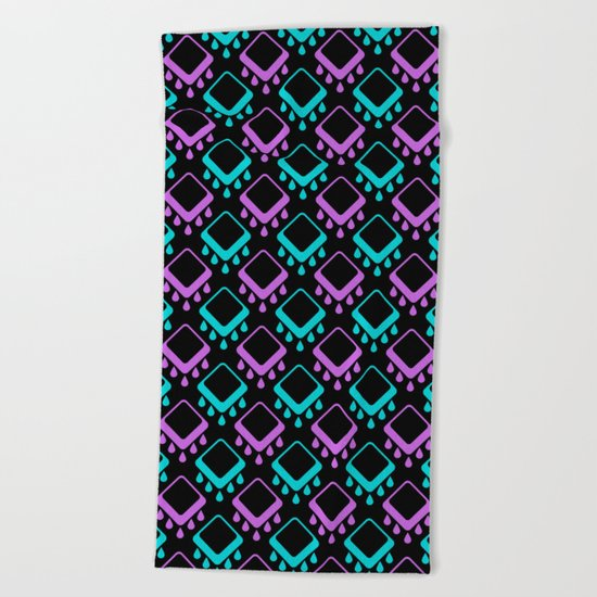 Abstract colorful geometric pattern . Black , Magenta , turquoise . Beach Towel