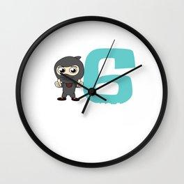 Birthday Ninja Party 6th Samurai Ninjas Gift Japanese Ninja stars Fighter Gift Wall Clock