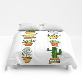 Succulents and Cacti Potted Plants Comforters