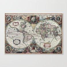 Antique World Map 1630 Canvas Print