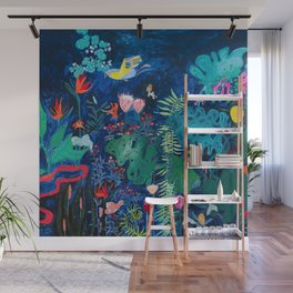 Brightly Rainbow Tropical Jungle Mural with Birds and Tiny Big Cats Wall Mural