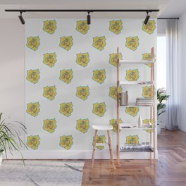 Yellow and Turquoise Rose Wall Mural