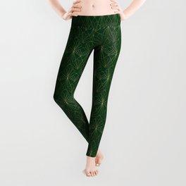 Art Deco in Gold & Green Leggings