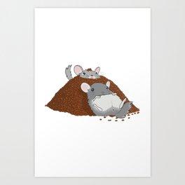 Chinchillas in a pile of poop Art Print