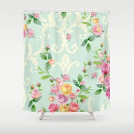 vintage pattern with english roses Shower Curtain