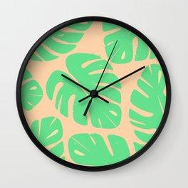 Monstera Leaf Print 3 Wall Clock