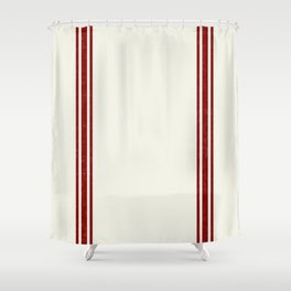 Vintage Country French Grainsack Red Stripes Creme Background Shower Curtain