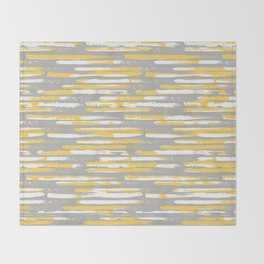 Colorful Stripes, Abstract Art, Yellow and Gray Throw Blanket