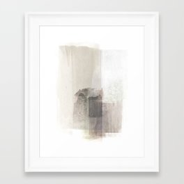 Beige and Brown Minimalist Abstract Painting Framed Art Print
