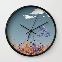 pigeon Wall Clocks featuring pigeon by Shelby Claire