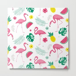 Pink flamingo Tropical  Metal Print