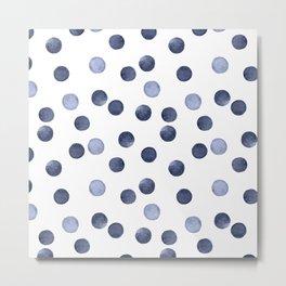 Watercolor . Dark blue polka dot . Metal Print